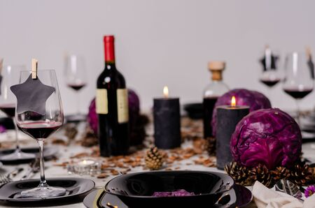 Beautiful table setting with lavender flowers on wooden background. Reklamní fotografie