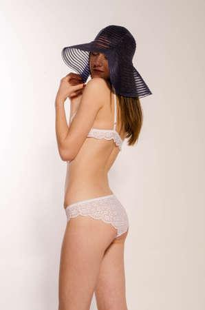 Brunette beauty posing elegant lingerie
