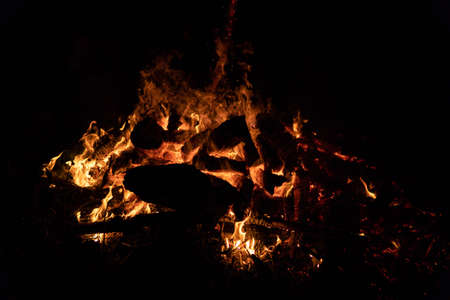 Night campfire with available space at left side. Foto de archivo