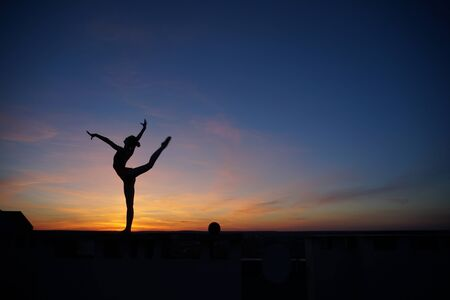 dancer in the dance does the splits in the air against the sunset/ Banque d'images