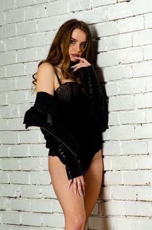 High brunette lingerie studio portrait