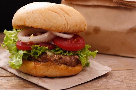 Hamburgers on wooden background Stock Photo