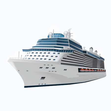 illustration of a cruise ship on a blue background