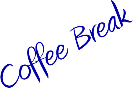 Coffee Break on blue text on to Whte Background