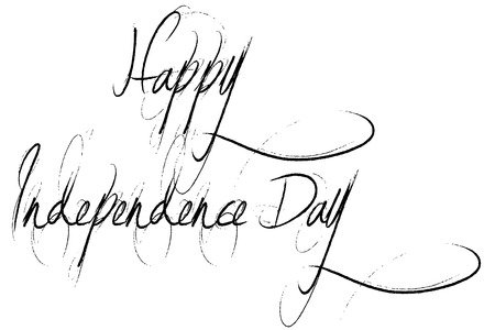 recurrence: Happy independence day, in handwriting style on an white Background
