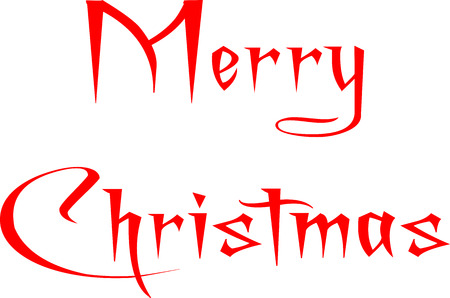 holliday: Merry Christmas written in English on a white Background Illustration