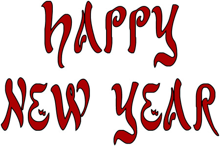 applicant: happy new year gretting card writen in Red on an white background Illustration