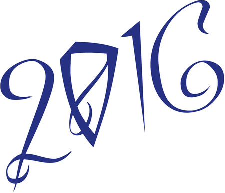 he is a traditional: 2016 gretting sign writen on a white Background