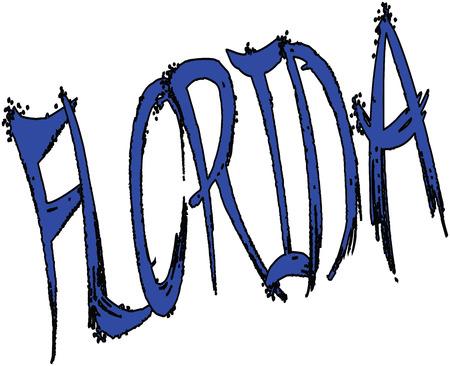 florida citrus: Florida sign writen in blue on a white Background