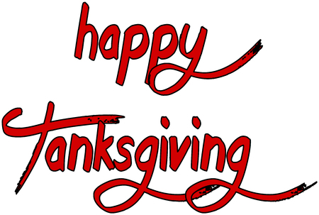 recurrence: happy tanksgiving word writen on a white Background Illustration