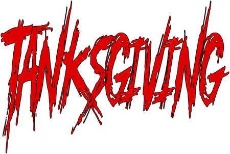 applicant: happy tanksgiving word writen on a white Background Illustration