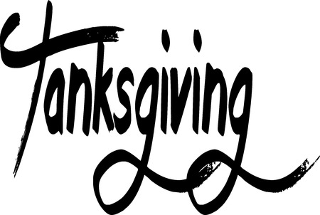 the applicant: happy tanksgiving word writen on a white Background Illustration