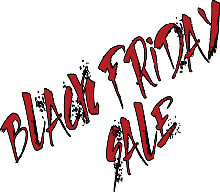 retail therapy: Text black Friday in unique artistic uppercase letters, white background. . Illustration