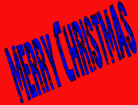 christendom: Merry Christmas writen in English written in Blue on a Red Background Illustration