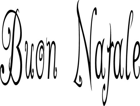 midwinter: Merry Christmas writen in Italian written on a white Background.