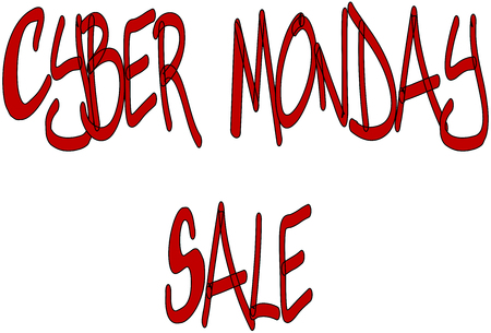 sell online: Cyber Monday Sale written in Red on a white background