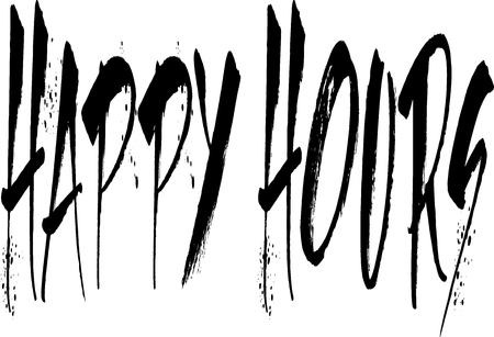stamped: Illustration of text happy hours in grunge red script, stamped, white background.