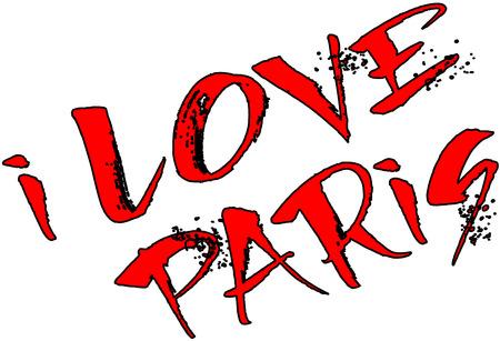 i love paris: I Love Paris design, raster illustration.