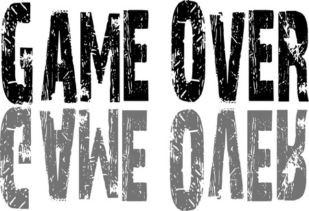 over: Game over text on white Background