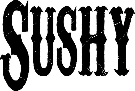 bilboard: Sushy text banner in black lettesr on white background Illustration