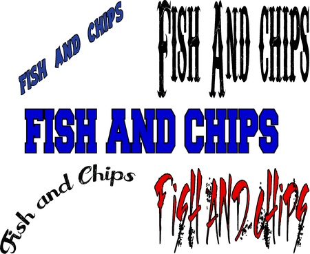 fish and chips: Fish and Chips text on white background Illustration