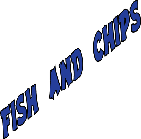 speciality: Fish and Chips text on white background Illustration