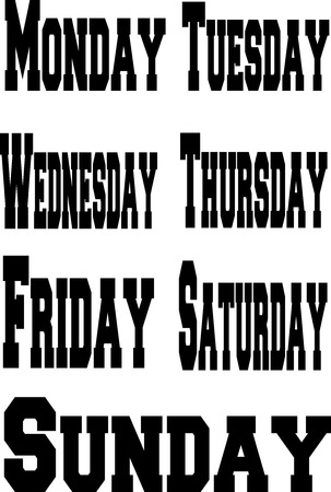 days: Days of the Week in English on a white background