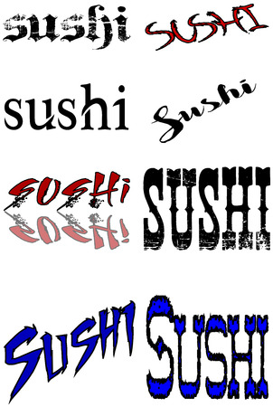 bilboard: Sushi text banner collage on white Background