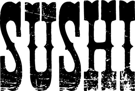 bilboard: Sushi text banner on white Background Illustration
