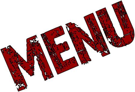 alimentation: Menu text  sign on white background Illustration