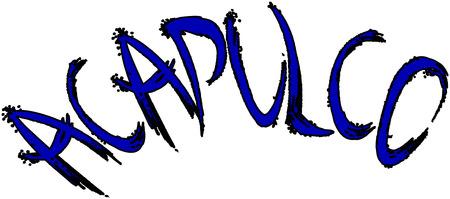 springbreak: Acapulco text sign illustration on white Background