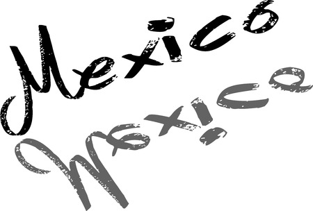 spanish tradition: Mexico Text Illustration on white Background