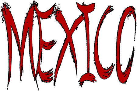 Mexico Text Illustration on white Background