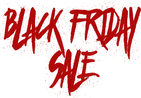 bilboard: Text black Friday sale in unique artistic uppercase letters, white background.