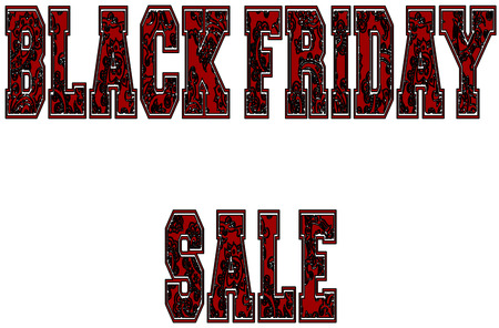 retail therapy: Text black Friday sale in unique artistic uppercase letters, white background.