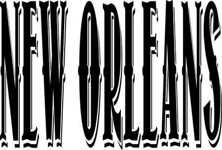 gulf: New Orleans text illustration on white background