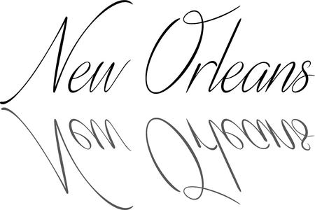 english culture: New Orleans text illustration on white background