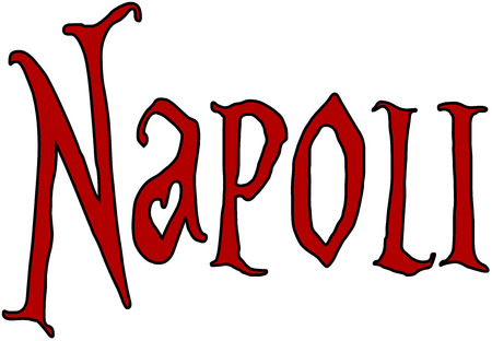 bilboard: Naples text illustration pmn white background
