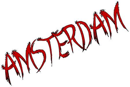 dutch culture: Amsterdam tex illustration on white background Illustration