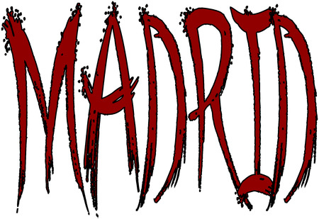 bilboard: Madrid text illustration on white background, Illustration