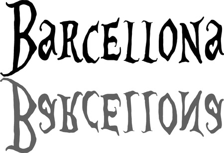 bilboard: Barcellona text illustation on white background