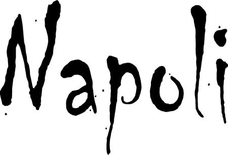 bilboard: Naples text illustration on white background