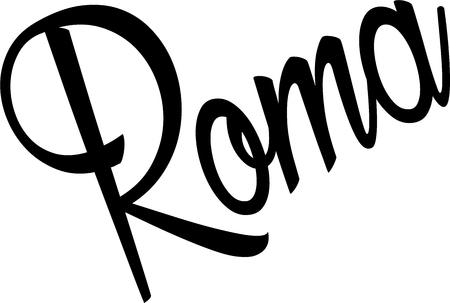 roma: Roma text Sign on white Background