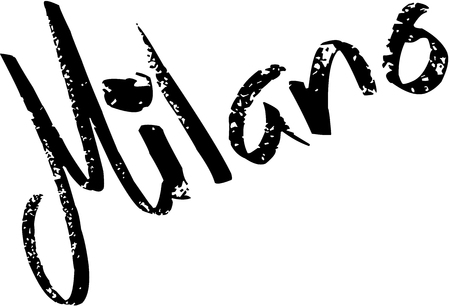 Milano text Sign on White Backgrount Illustration