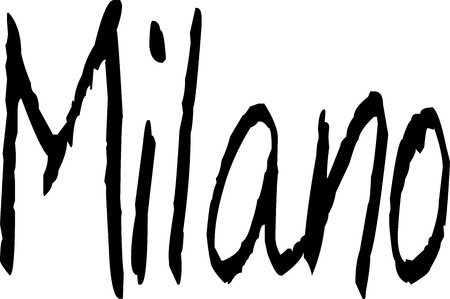 milano: Milano text Sign on White Backgrount Illustration