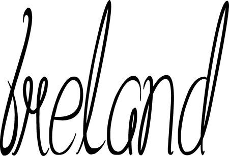 isles: Ireland text sign on white Background Illustration