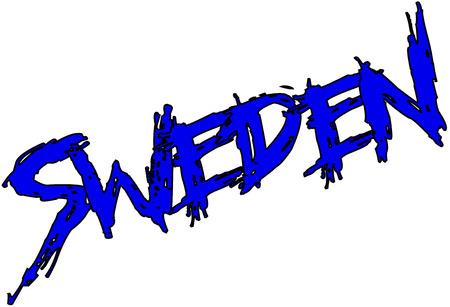 Sweden text sign on white bvackground
