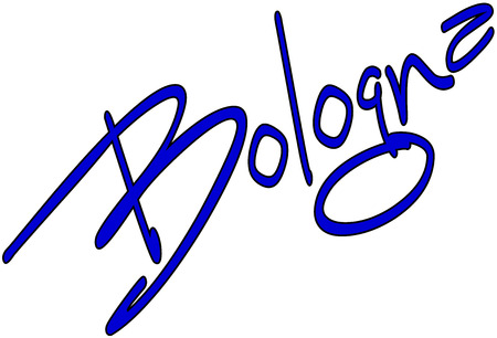 Bologna text Sign on White Backgrount
