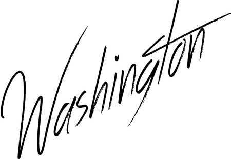 Washngton text sign writen in English on white bvackground Illustration