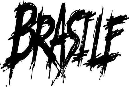 Brasile Text sign in italian on white Background Illustration